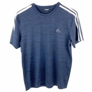 Adidas Blue White Stripe Boys T-shirt Boys Medium